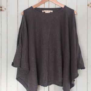 Studio M One Size Grey Poncho Cold Shoulder